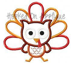Owl Turkey Applique Design -BUY 3 GET 1 FREE-. $2.50, via Etsy.
