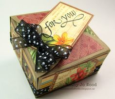 Thank you gift set using Graphic 45 Safari Adventure and Quietfire Design stamps. Box created using Spellbinders box die. Jo Wood, Safari Adventure, Graphic 45, Thank You Gifts, Embellishments, Decorative Boxes, Thankful, Gift Wrapping, Crafty