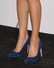 Magrit navy suede platform pointed toe pumps. Debuted Oct 2014