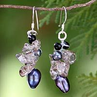 Pearl and smoky quartz cluster earrings, 'Surreal'