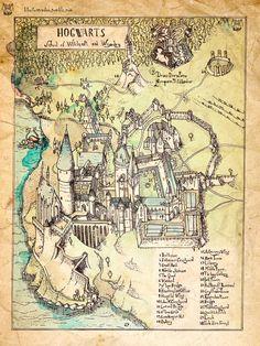 Mapa del castillo Hogwarts, por Kiko Sánchez - Lienzo impreso y montado en bastidor