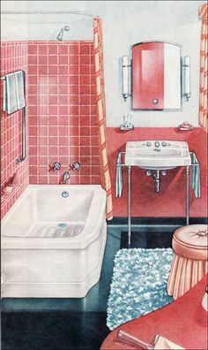 1947 Briggs Bathroom  Built-in tiled shelf in the bathtub shows that this isn't a new idea.
