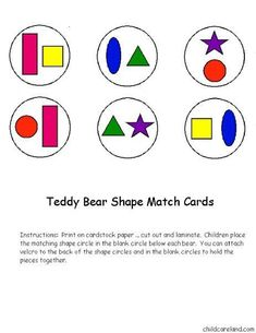 cheznounoucricri - Page 47 Oral Motor Activities, Preschool Activities, Bear Theme, Shape Matching, Children's Place, Paper Cutting, Worksheets, Card Stock, Teddy Bear