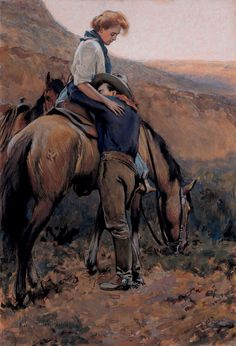 "Maynard Dixon, ""A Tearful Farewell"" – The Lucas Museum of Narrative Art Lucas Museum, Westerns, Maynard Dixon, Into The West, West Art, Cowboy Art, Le Far West, Equine Art, Michelangelo"