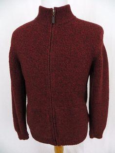 LL Bean Sweater Large Heavy Lambs Wool Full Zipper Mock Neck Red Winter Pullover #LLBean #FullZip