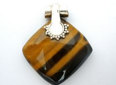 Tiger's Eye Pendant Sterling Silver Necklace Slide Large Brown Gemstone Vintage | Jewelry & Watches, Vintage & Antique Jewelry, Fine | eBay!