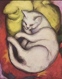 Painting by Franz Marc, 1912, Cat on a Yellow Cushion. (German Expressionist Painter, 1880-1916)