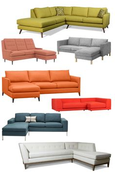 I want to sell all my furniture and buy new stuff...these sectionals are too cute! I heart the petite orange one!
