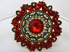 Capri Vintage Rhinestone Red brooch by SVintageCollection on Etsy, $60.00