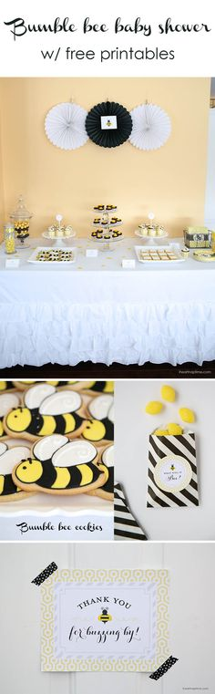 Bumblee bee baby shower with free printables on iheartnaptime.com -so cute!
