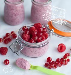 Homemade baby food recipe - Chia Pudding is simple, quick and really nutritious. A recipe for babies learning to use their own spoon for Baby Led Weaning.