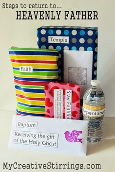 Gifts for an LDS baptismal age child from MyCreativeStirrings. They are gifts to remind the child of the steps to live a life like Christ would have you them. Mormon Baptism, Baptism Talk, Baptism Party, Lds Baptism Ideas, Holy Ghost Talk, Baptism Gifts For Boys, Fhe Lessons, Primary Lessons, Object Lessons