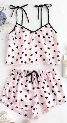 Style: Casual Material: Polyester,Polyurethane Collar-line: Spaghetti Strap Pattern Type: Heart Decoration: None Season: Summer Sexy Pajamas, Cute Pajamas, Pajamas Women, Summer Pajamas, Girls Pajamas, Pyjamas, Cute Lazy Outfits, Girly Outfits, Pretty Outfits
