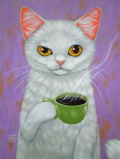 WHITE CAT AND BLACK COFFEE Art Print
