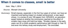 Research confirms small class sizes in the early grades yield results that last. Research In Education, Things To Come, Good Things, Good Dates, Class Management, School Stuff, Kindergarten, Student, Teaching