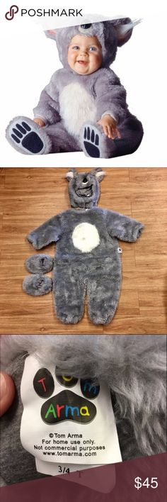 Tom Arma Koala Bear Costume Gray 3 4 Fully lined in grey baby soft fabric. Includes: * Character headpiece with front Velcro closure, with fluffy ears lined in pink and black molded nose. * Character bodysuit with back snap closure, in delightful grey faux fur with contrasting fluffy soft tummy. * Character booties with embroidered details. To keep your booties in picture perfect condition, Tom recommends that booties should be used for indoor use only or on sitting little ones in strollers…