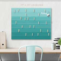 A beautiful way to display your cards and memos and decorate any room. This display board can be hanged in a dorm, kids room, teens room, office, kitchen, family space and more. Personalization option. 10 design options. Hand painted canvas with wooden clothespins. #giftforher #Bulletinboard #cardsdisplay #tealombre #ombre #teal #tealroomdecor #girlsroom #giftforgirl #teensroom #officeorganizer #memoholder #homeorganizer #personalizedgift #giftforteens #freeshipping #christmasgift… Teal Room Decor, Teal Rooms, Unique Gifts For Kids, Gifts For Boys, Bulletin Board Design, Bulletin Boards, Bat Mitzvah Gifts, Name Wall Art, Last Minute Christmas Gifts