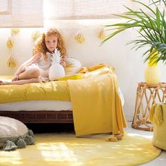 The round Tie-Dye Rug in Yellow by Lorena Canals with its avant-garde motif lends a cheerful radiance to any bedroom or living area. Yellow Ties, Yellow Rug, Mellow Yellow, Kids Bedroom, Bedroom Decor, Lorena Canals Rugs, Tie Dye, Machine Washable Rugs, Kids Decor