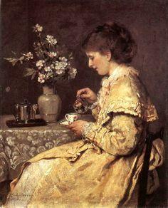 """""""Frau Luise Philippine Conradine Steuerwaldt Scholderer am Frühstûckstisch"""" by Otto Franz Scholderer (1872-1873)"""