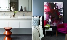 Art on the right in SKD Residence - Mim Design Bedroom Prints, Bedroom Colors, Mim Design, Australian Interior Design, Home Board, Beautiful Bedrooms, Interior Design Inspiration, Colours, Studio