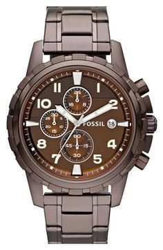 Fossil Notched Bezel Chronograph Bracelet Watch $135...love the color...