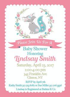 Girl Woodland Baby Shower Invitations, Girl Baby Shower Invites, Baby Fiona Fox Baby Shower, Fiona Fox Nursery