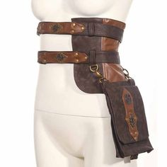 Corzzet браун готический рок мотоцикл сумки pu кожа стимпанк талии сумка пакет винтаж женщин корсет хеллоуин костюм аксессуары