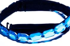 Royal Blue Crystal Clear Bra Straps  A black elastic bra strap lined with 15 hand sewn acrylic faceted stones. Dress them up or down, match them with all your outfits for a comfortable casual or glamourous statement. Royal blue crystal bra straps are so much nicer then clear bra straps! Attach to convertible bras or strapless bras.