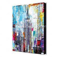 Pintada a mano AbstractoModern Un Panel Lienzos Pintura al óleo pintada a colgar For Decoración hogareña 2017 - $86.99