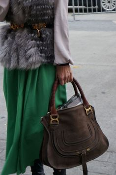 This was totally my staple/most fav style this winter: faux fur vest + leather/hardware belt + pop of color