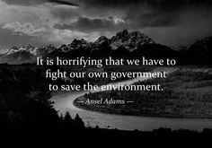 Somethings never change: Is is horrifying that we have to fight our own government to save the environment. ~Ansel Adams
