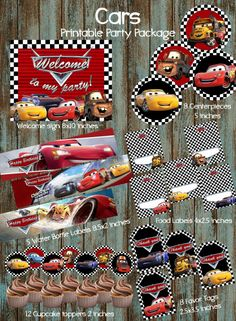 Cars Printable Party Package, Disney Cars 3 Birthday Party Ideas - Jensen's second birthday❤ - Super Car Pictures Disney Cars Party, Disney Cars Birthday, Cars Birthday Parties, 3rd Birthday, Birthday Ideas, Car Party, Disney Parties, Car Centerpieces, Party Printables