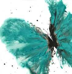 """Contemporary Art Abstract Butterfly in Teal 14 x 14 on Cotton Ragg"" by Catherine Jeltes. 14""x14"" Acrylic on Cotton Ragg Paper."
