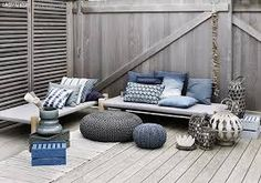 serene grey and blue outdoor living space Decor, Furniture, Outdoor Decor, Interior, Home, Home Deco, Outdoor Living Space, Outdoor Pouf, Outdoor Design
