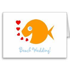 Cute Whimsical Informal Beach Wedding Invitation C Greeting Card