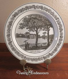 Antique Creil French Creamware Plate of English Scene Beeston Hall Norfolk #Creil