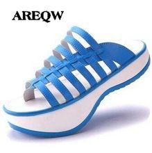 Areqw zapatos de cuero de verano sandalias mujeres romano negativo tacones zapatillas nueva Shake zapatos mujeres zapatos de la aptitud que adelgaza(China)