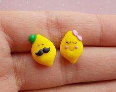 Lemon Earrings, Citrus Fruit Drop Earring, Lemon Stud, Miniature Food, Fruit Earrings, Foodie gift, Faux Food Earrings,Mini Lemon Post