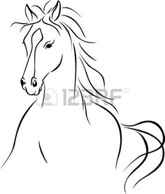 Illustration of horse illustration - black outline drawing vector art, clipart and stock vectors. Horse Head Drawing, Horse Drawings, Outline Images, Outline Drawings, Horse Outline, Horse Stencil, Horse Tattoo Design, Horse Sketch, Animal Line Drawings