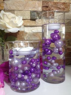 DIY Floating Pearl Centerpiece Purple/Lilac Pearls Mix, Jumbo Pearls Vase Fillers, No Hole Pearls, Table Scatters, Confetti – Floating Candles İdeas. Pearl Centerpiece, Purple Wedding Centerpieces, Floating Candle Centerpieces, Wedding Table Centerpieces, Flower Centerpieces, Centerpiece Ideas, Quinceanera Centerpieces, Floral Wedding, Wedding Flowers