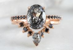 Vintage engagement rings 149252175138853475 - Oval-Cut Tourmaline In Quartz Engagement Ring with Black Pavé Band – Alexis Russell Source by Quartz Engagement Ring, Morganite Engagement, Vintage Engagement Rings, Different Engagement Rings, Engagement Rings Black Diamond, Engagement Rings Not Diamond, Black Diamond Rings, Stacked Engagement Ring, Engagement Quotes