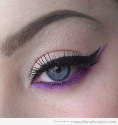 Maquillaje de ojos con párpado inferior en lila