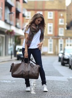Zara white shirt, Wrangler blue jeans, Louis Vuitton bag, Converse white sneakers and Mulberry scarf