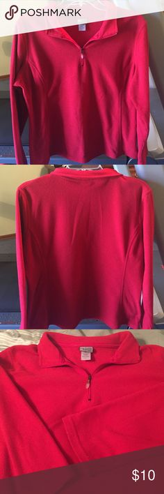 Red fleece pullover sweatshirt Soft and warm red fleece sweatshirt!  Pullover with zipper . Size large but more like medium fit. Champion Tops Sweatshirts & Hoodies