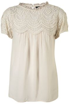 Scallop Yoke Lace Blouse
