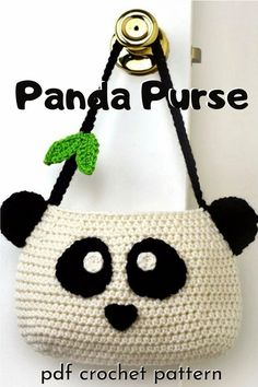 Fun panda purse for kids or adults or any panda lover! This cute pattern is crocheted seamlessly in the round from the bottom up. Easy peasy! #crochetpattern #crochethandbag #pandapurse #crochet #yarn #crafts #craftevangelist