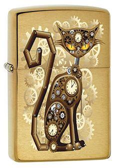 Zippo Industrial Machinery, Cat With Gears, Steam Punk, Brushed Brass Lighter Cool Lighters, Victorian Era Culture, Steampunk Cat, Industrial Machinery, Lighter Fluid, Light My Fire, Clock, Brass