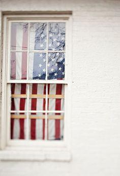 Flag curtain.