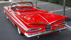 1959 Chevrolet Impala Convertible HP, Red/Red presented as lot at Houston, TX 2015 Chevrolet Bel Air, Chevrolet Impala 1959, Chevrolet Trucks, Convertible, Ford Modelo T, Dodge Charger, Vintage Cars, Antique Cars, Cadillac