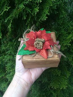 Red Christmas christmas wooden Gift Box by CarolaFlowerDesigns